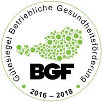 """Zertifikat """"Betriebliche Gesundheitsförderung 2016 - 2018"""""""