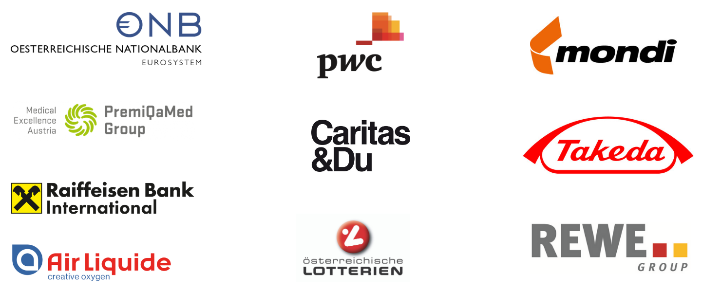 Lerne Unternehmen wie die Österreichische Nationalbank, REWE, Air Liquide, Österreichische Lottieren, Raiffeisen Bank International, PremiQaMed, Caritas, PwC, Mondi und Takeda kennen